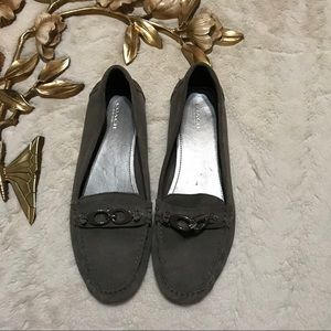 Coach Fortunata Gray Suede Loafers Size 10B